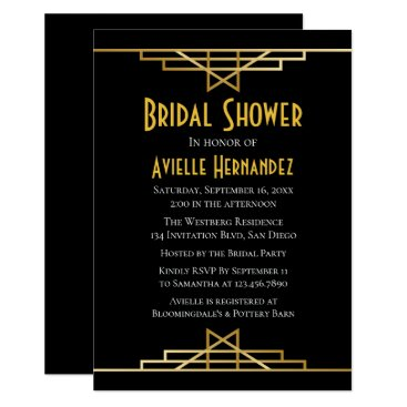 Wedding Themed Art Deco Gatsby Bridal Shower Gold & Black Wedding Card