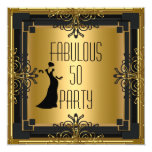 ART DECO Gatsby Fabulous 50 50th Birthday Party 3 5.25x5.25 Square Paper Invitation Card