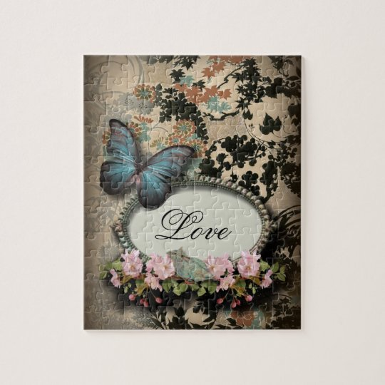 art deco gatsby floral vintage botanical butterfly jigsaw puzzle