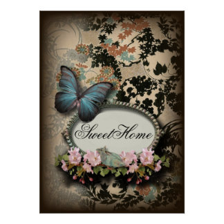 art deco gatsby floral vintage botanical butterfly poster