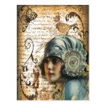 Art Deco Gatsby Girl Paris fashion Postcard