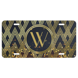 Art Deco Gatsby Glamour Geometric Pattern Monogram License Plate