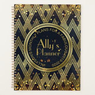 Art Deco Gatsby Glamour Geometric Pattern Monogram Planner