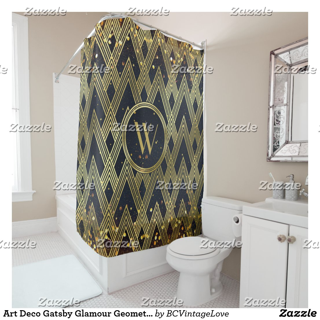 Art Deco Gatsby Glamour Geometric Pattern Monogram Shower Curtain