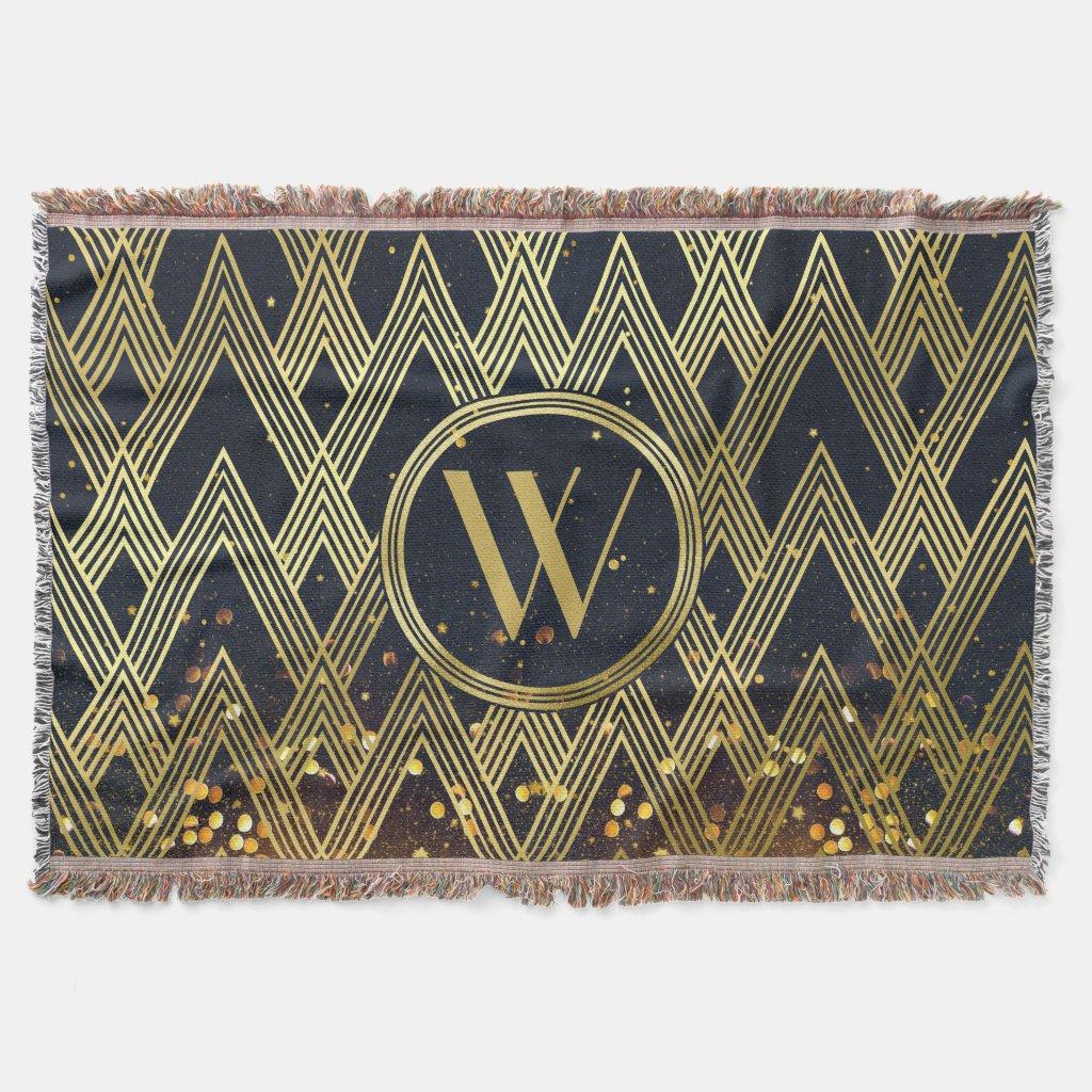 Art Deco Gatsby Glamour Geometric Pattern Monogram