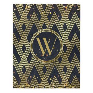 Art Deco Gatsby Glitter Geometric Pattern Monogram Faux Canvas Print