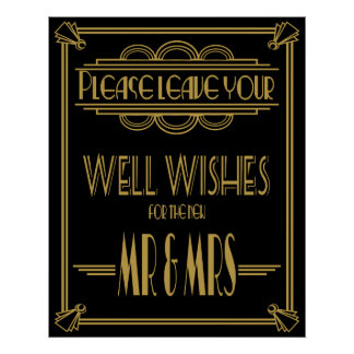 "Art Deco Gatsby ""Please leave your wishes"" print"