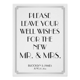 Art Deco Gatsby Silver Guestbook Sign 18x24