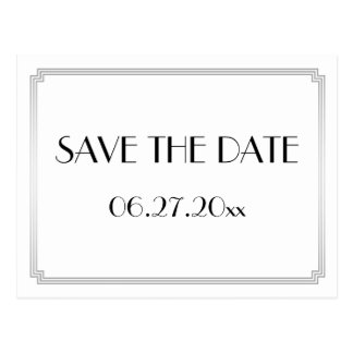 Art Deco Gatsby Silver Save The Date Postcard