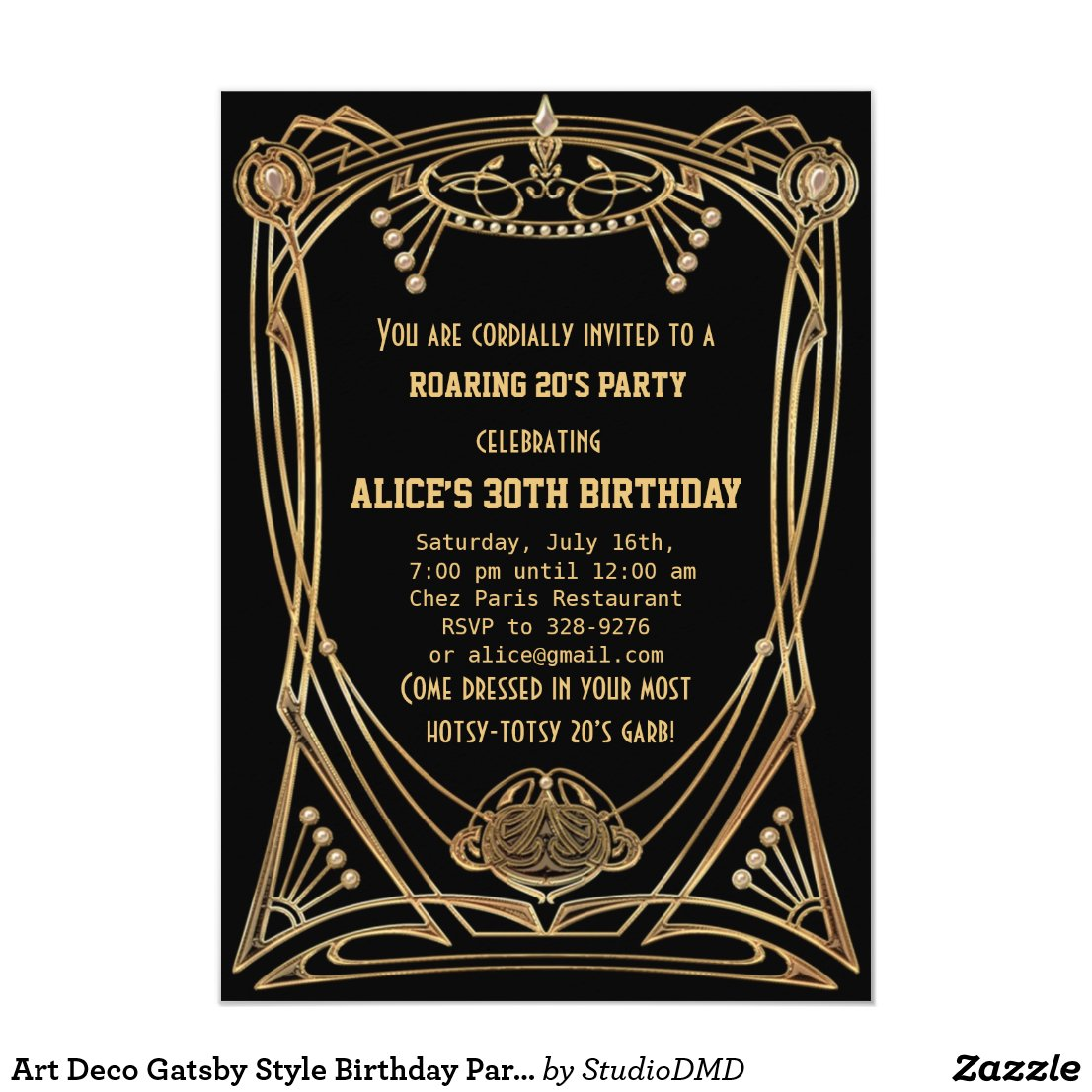 1920's Great Gatsby Art Deco Birthday Invitations - Retro Invites