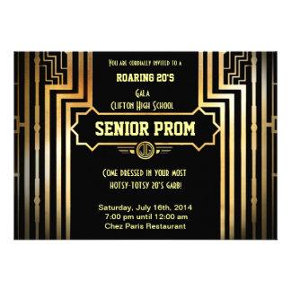 Art Deco Gatsby Style Prom Invitation-Roaring 20 s