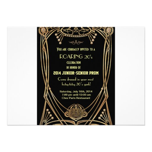 Art Deco Gatsby Style Prom Invitation-Roaring 20's