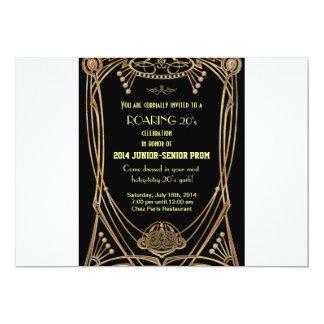 """Art Deco Gatsby Style Prom Invitation-Roaring 20's 5"""" X 7"""" Invitation Card"""