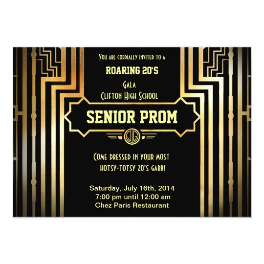 Art Deco Gatsby Style Prom Invitation Roaring 20u0026#39 ...  Prom Invitation Templates
