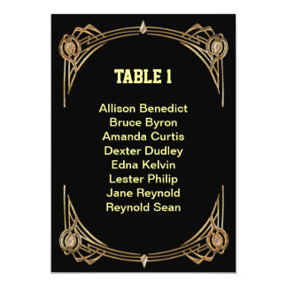 Art Deco Gatsby Style Seating List Personalized Invitations