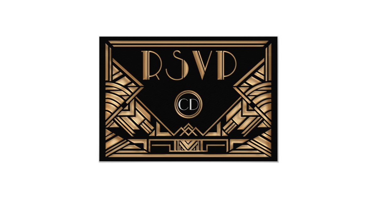 Art Deco Gatsby Style Wedding RSVP Response Cards | Zazzle.com