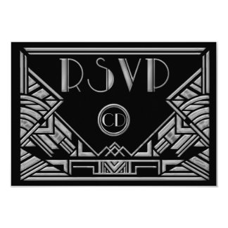 Art Deco Gatsby Style Wedding RSVP Response Cards Personalized Invite