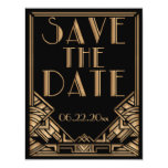Art Deco Gatsby Style Wedding Save the Date 4.25x5.5 Paper Invitation Card