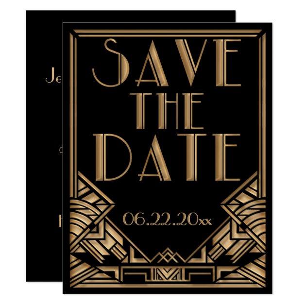 Art Deco Gatsby Style Wedding Save the Date Card | Zazzle.com