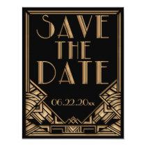 Art Deco Gatsby Style Wedding Save the Date Invitation
