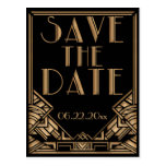 Art Deco Gatsby Style Wedding Save the Date Postcards