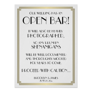 Art Deco Gatsby White And Gold Open Bar Sign 18x24