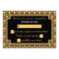 Art Deco Geometric Diamond Pattern Wedding RSVP Card