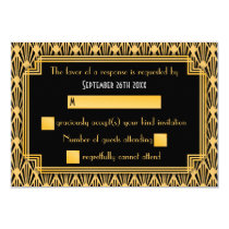 Art Deco Geometric Diamond Pattern Wedding RSVP Invitation