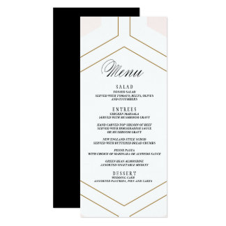 Art Deco Geometric Diamond Wedding Menu Card