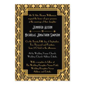 Art Deco Geometric Diamonds Pattern Wedding Card