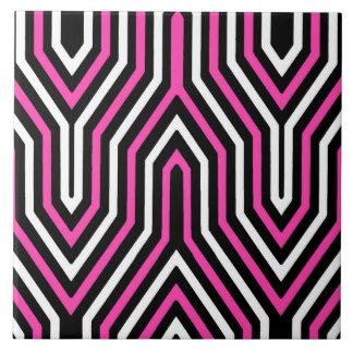 Art Deco Geometric - fuchsia pink black and white Tiles