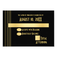 Art Deco Geometric Gold and Black Response Card