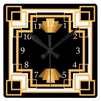 Art Deco Geometric Pattern Custom Square Wall Clock