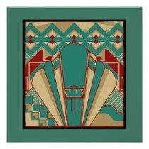 Art Deco Geometric Pattern Poster