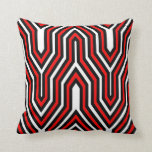 Art Deco Geometric - red, black and white Throw Pillows