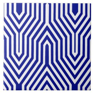 Art déco geométrico - azul y blanco de cobalto azulejo cuadrado grande