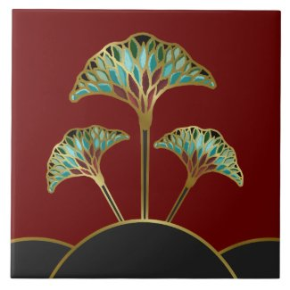 Art Deco Ginkgo Leaves Decorative Tile tile