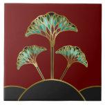 Art Deco Ginkgo Leaves Decorative Tile at Zazzle