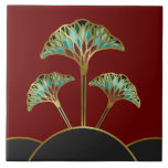 "Art Deco Ginkgo Leaves Decorative Tile<br><div class=""desc"">Bold,  colorful ginkgo leaves trimmed in gold appear to be created from stained glass as they sprout up from black and gold half-moons in the eye-catching Art Deco style design on this decorative ceramic tile. From my original digitally-created design.</div>"