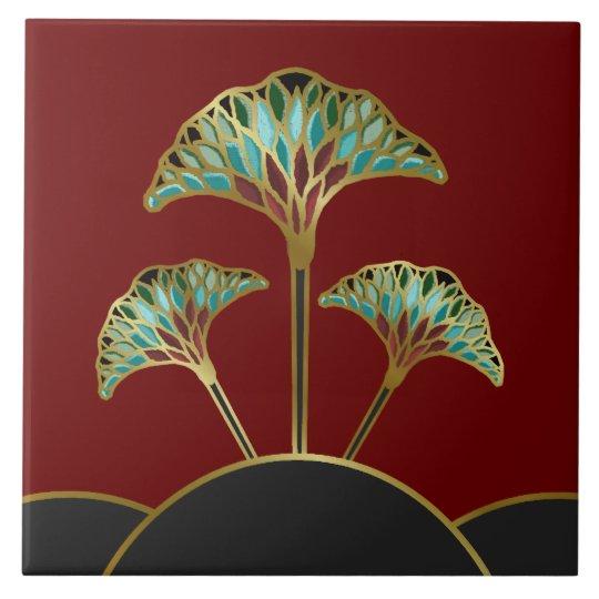 art deco ginkgo leaves decorative tile zazzle com