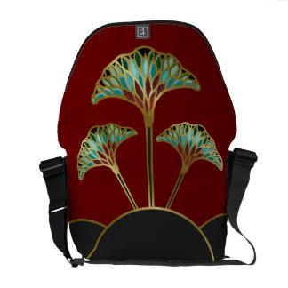 Art Deco Ginkgo Leaves Messenger Bag
