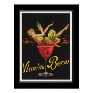 Art Deco Girl in Glass Vintage Poster Poster