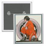 Art Deco Girl Pinback Button