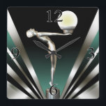 """Art Deco Glam Nouveau   teal Square Wall Clock<br><div class=""""desc"""">This elegant, classy Wall Clock features a glam flapper siren holding a glowing orb ~ a Gatsby-style Nouveau design reminiscent of glamorous 1920's Hollywood. Comes in 5 colors. Matching wedding invitations, save the dates, RSVPs, cocktail napkins & more available. ARE YOU ON FACEBOOK? For questions, to request another color or...</div>"""