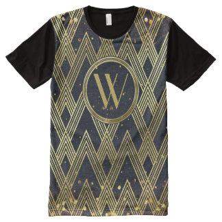 Art Deco Glamorous Geometric Pattern Monogram All-Over-Print Shirt