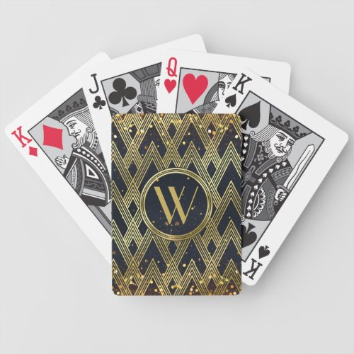 Art Deco Glamorous Geometric Pattern Monogram Bicycle Playing Cards