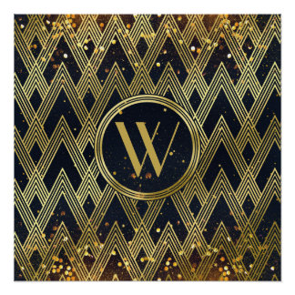 Art Deco Glamorous Geometric Pattern Monogram Poster