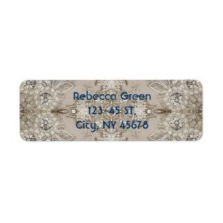 Art Deco Glamorous Great Gatsby Rhinestone Lace Label