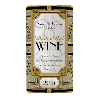Art Deco Gold 1 Vintage Stylish Wine Bottle Labels