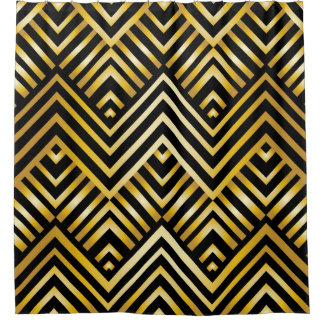 black and gold deco shower curtains | zazzle